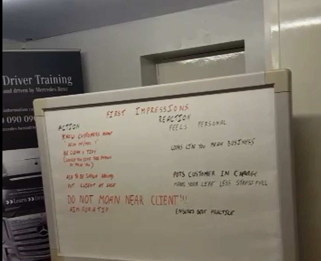Whiteboard in training room