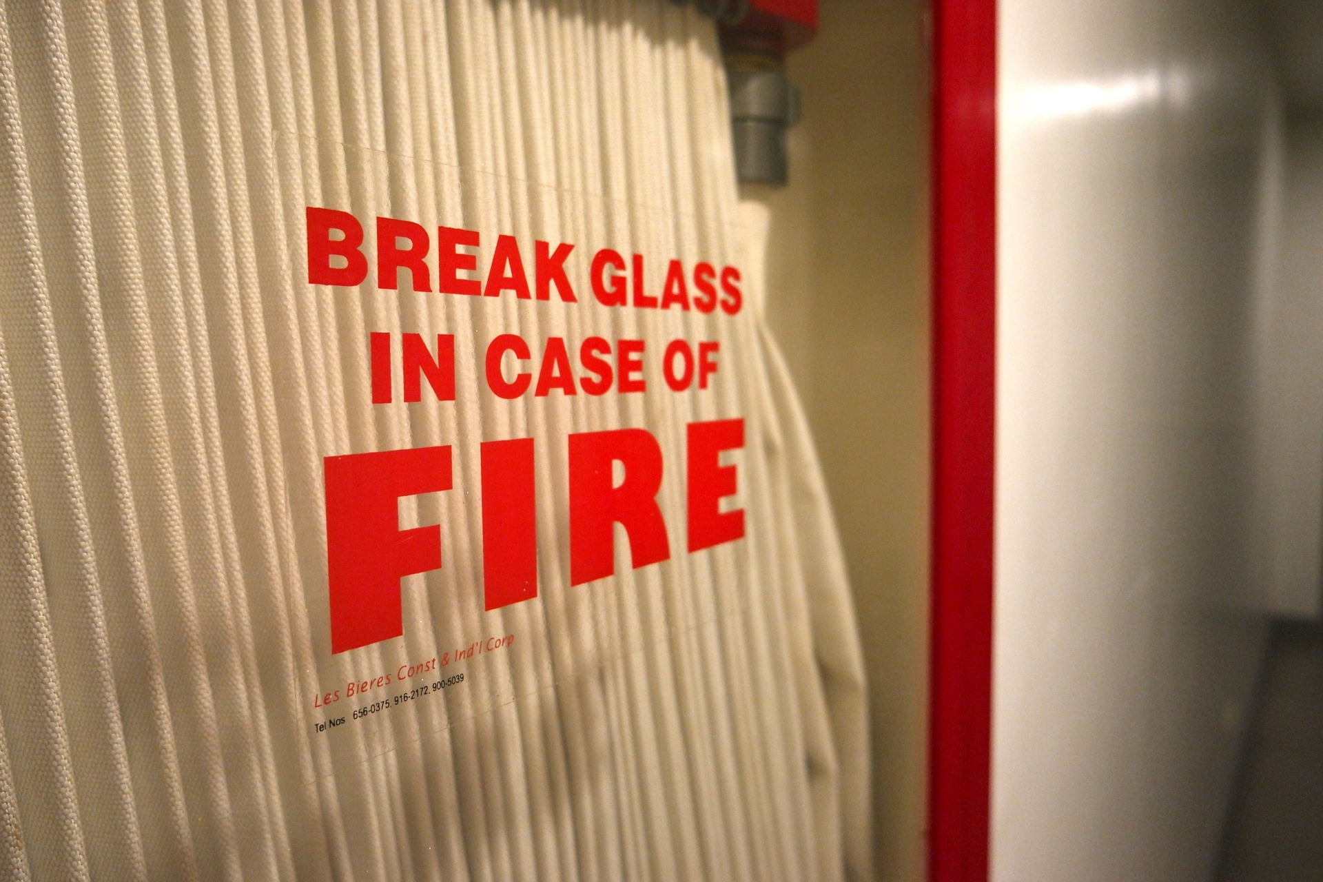 Break in case of fire cabinet