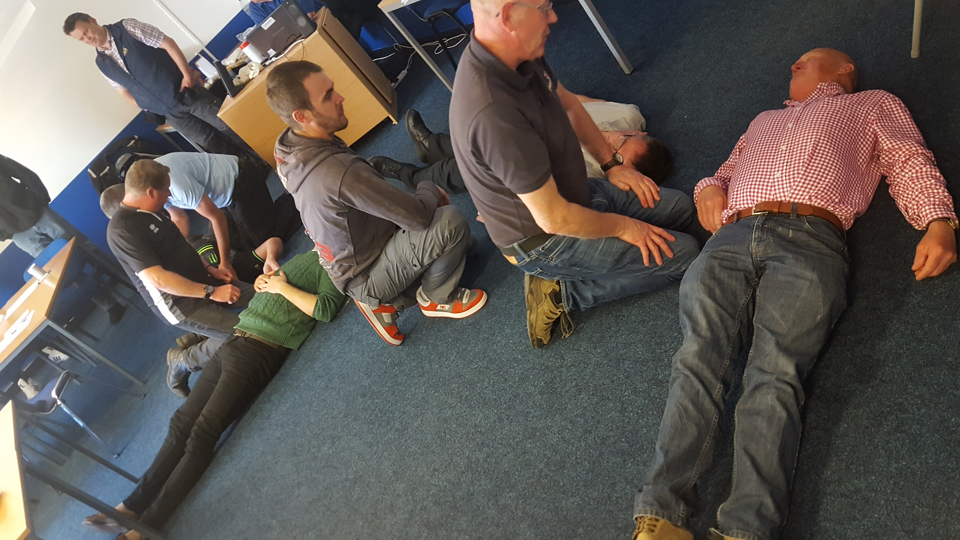 Emergency first aid at work training session