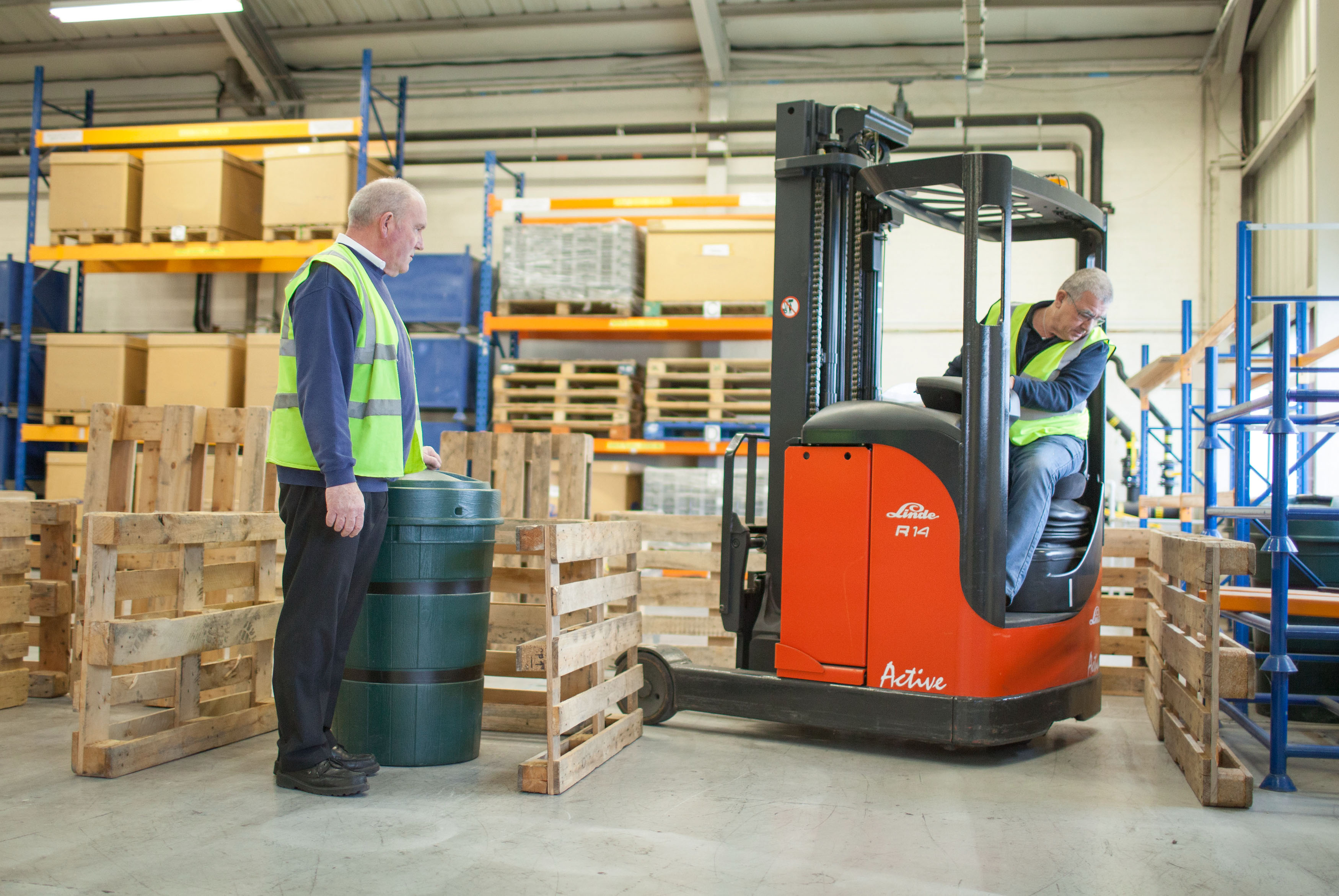 Forklift operator being trained